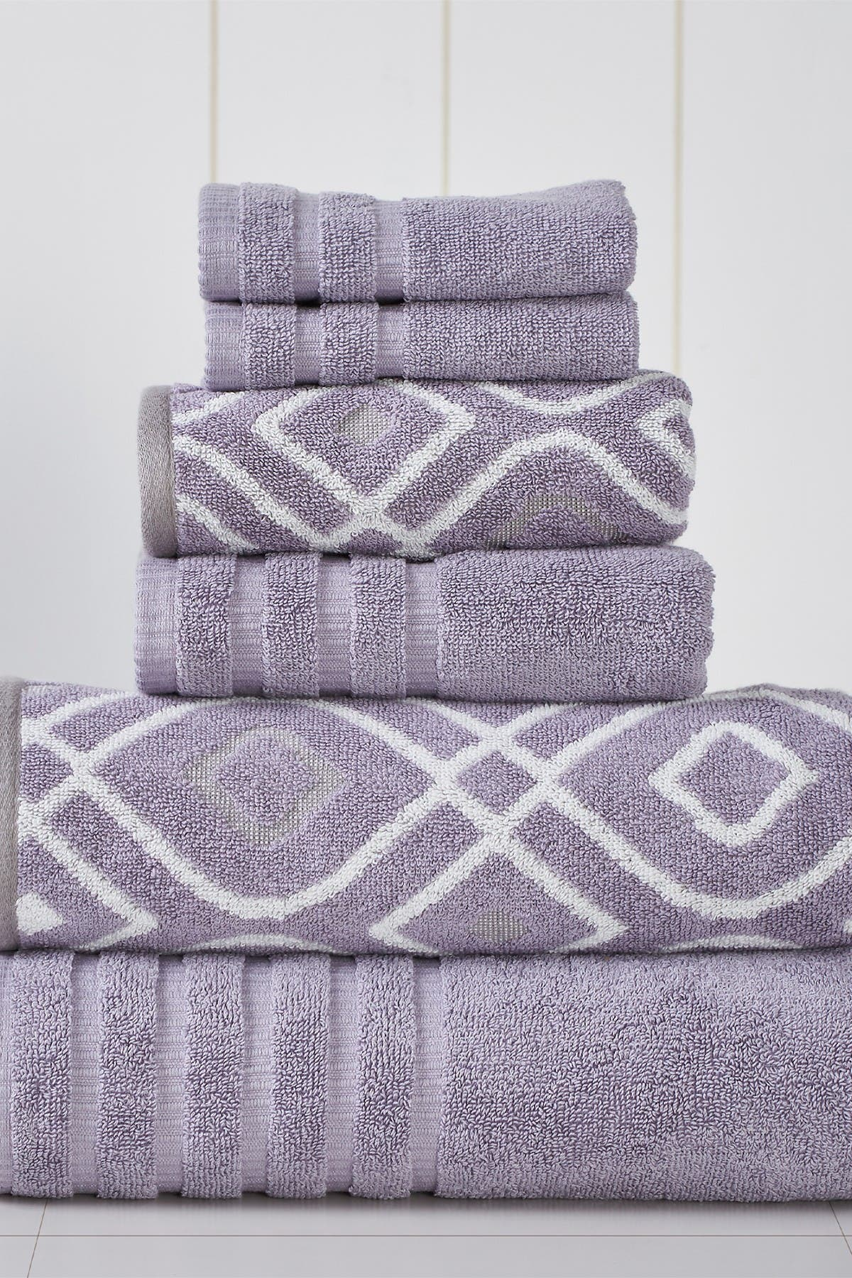Image of Modern Threads Yard Dyed Towel 6-Piece Set - Oxford Gray Lavender