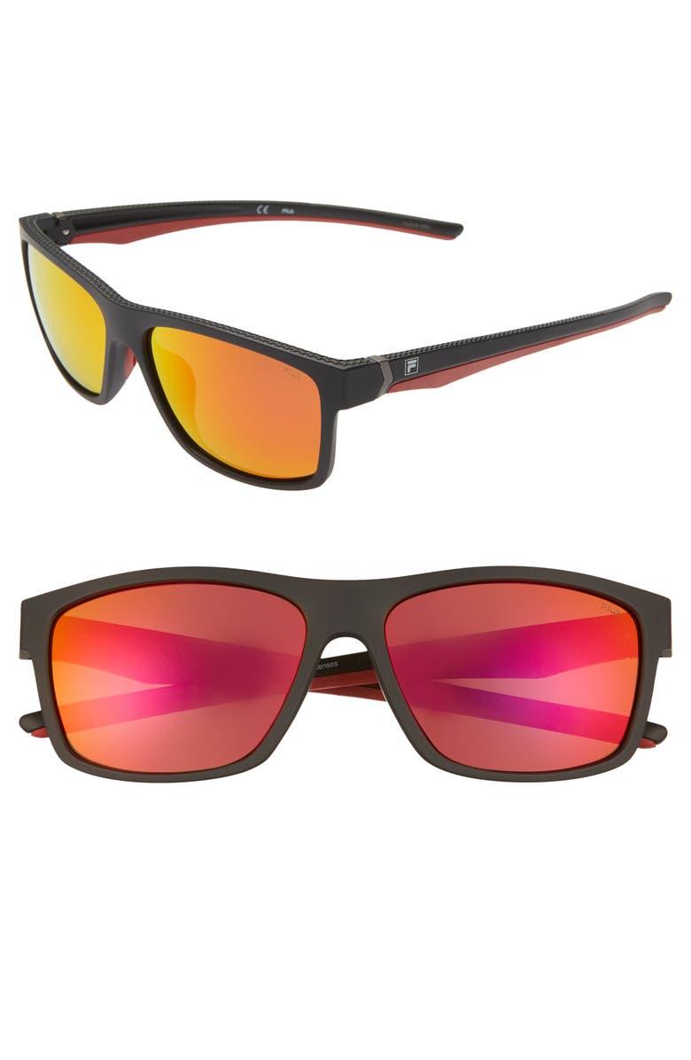 FILA 58mm Polarized Mirrored Square Sunglasses, Main, color, BLACK/ BROWN ORANGE
