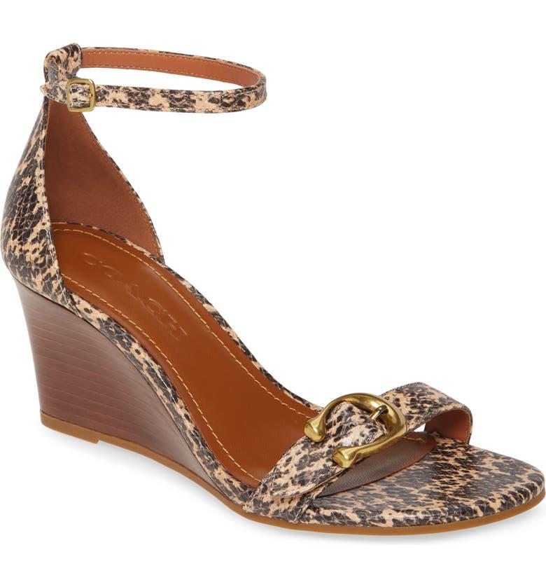 COACH Odetta Wedge Ankle Strap Sandal, Main, color, BEECHWOOD SNAKE PRINT