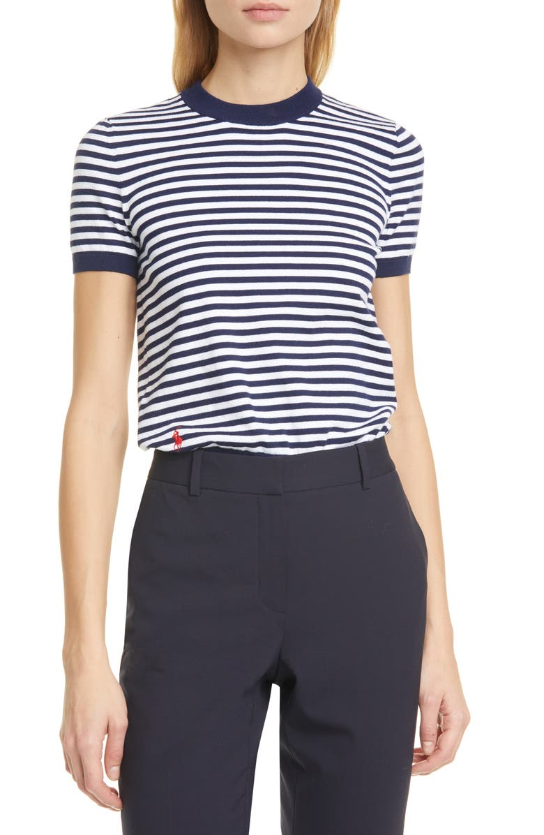 POLO RALPH LAUREN Stripe Short Sleeve Cotton Sweater, Main, color, BRIGHT NAVY/ WHITE
