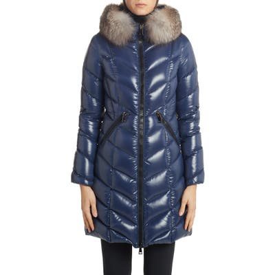Moncler Fulmarus Quilted Down Puffer Coat With Removable Genuine Fox Fur Trim, (fits like 2-4 US) - Blue