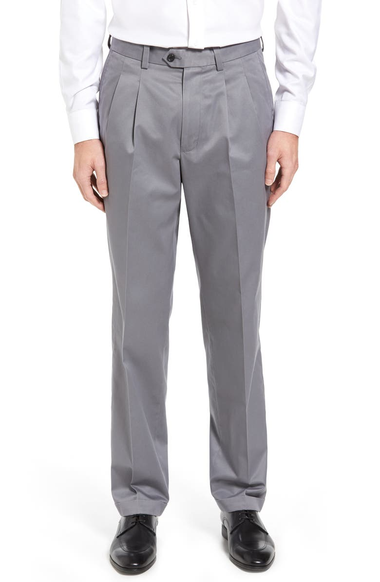 NORDSTROM MEN'S SHOP Classic Smartcare<sup>™</sup> Supima<sup>®</sup> Cotton Pleated Dress Pants, Main, color, GREY SHADE