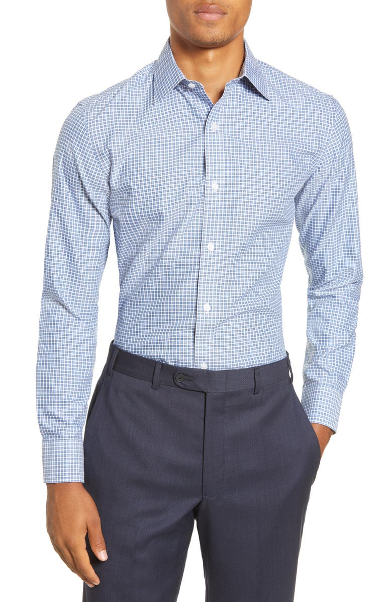 BONOBOS Swindon Slim Fit Plaid Dress Shirt, Main, color, SWINDON PLAID - PALACE BLUE