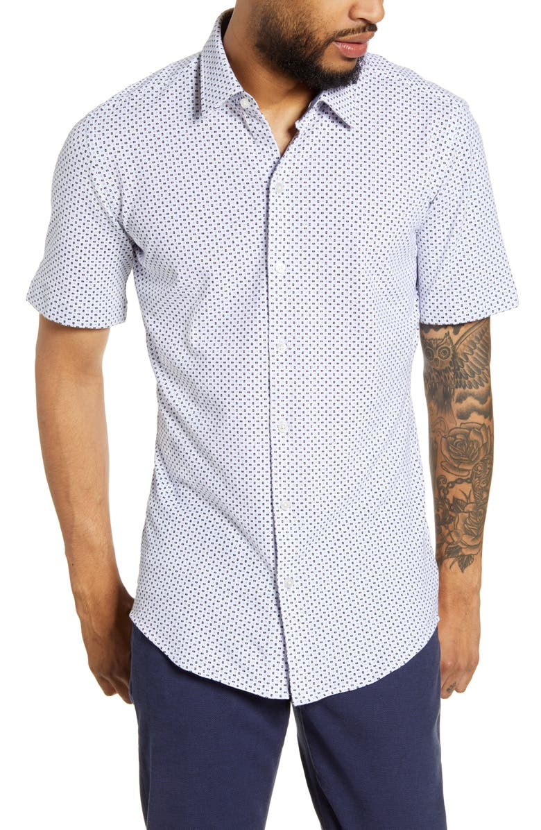 BOSS Robb Slim Fit Microdot Short Sleeve Button-Up Shirt, Main, color, BLUE