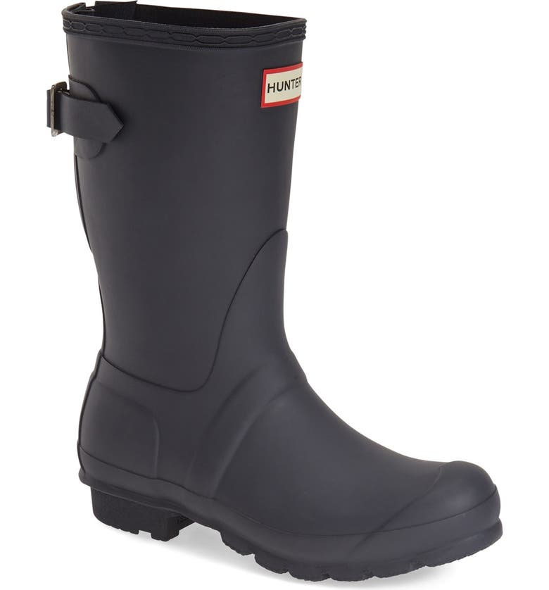 HUNTER Original Short Back Adjustable Waterproof Rain Boot, Main, color, NAVY