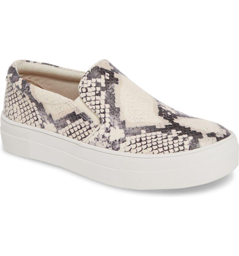 STEVE MADDEN Gills Platform Slip-On Sneaker, Main, color, BEIGE SNAKE PRINT