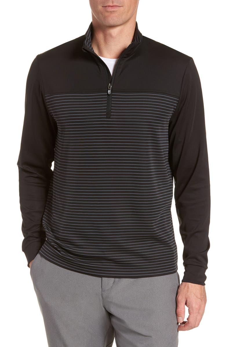 CUTTER & BUCK Traverse Regular Fit Stripe Quarter Zip Pullover, Main, color, 001