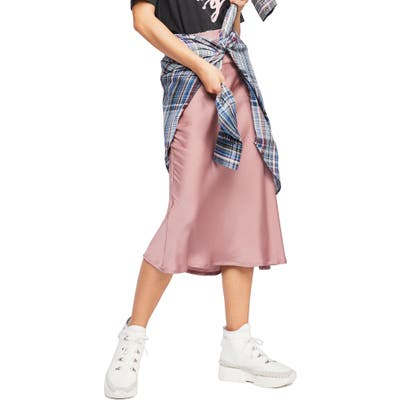 Free People Normani Bias Cut Satin Skirt, Pink