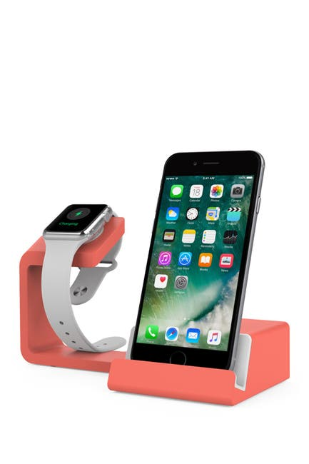 Image of POSH TECH Dual 2-in-1 Charging Stand for Apple Watch and Smartphones - Living Coral