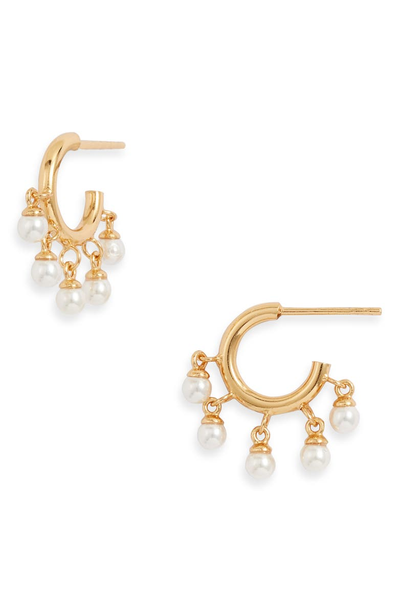 ADINA'S JEWELS Adina's Jewels Imitation Pearl Charm Hoop Earrings, Main, color, GOLD