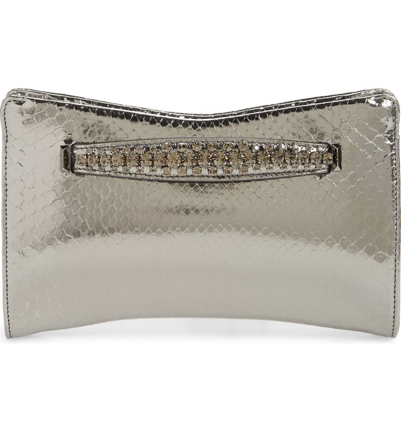 JIMMY CHOO Genuine Python Clutch with Crystal Bracelet Handle, Main, color, STEEL