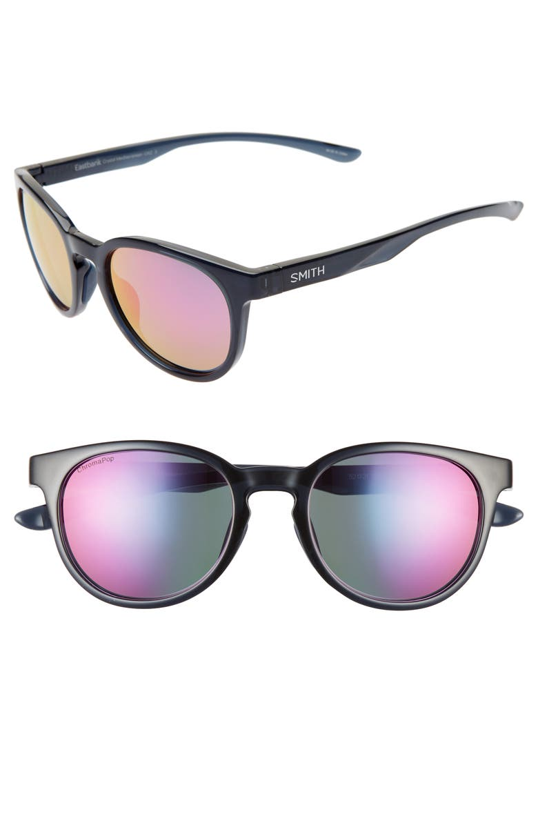 SMITH Eastbank 52mm ChromaPop<sup>™</sup> Mirrored Sunglasses, Main, color, CRYSTAL MEDITERRANEAN/ PURPLE