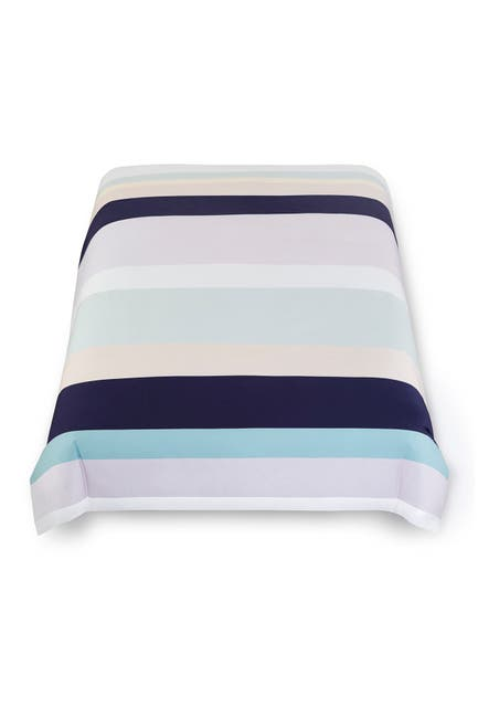 Image of kate spade new york dusk stripe duvet cover 3-piece set - full/queen - squid ink