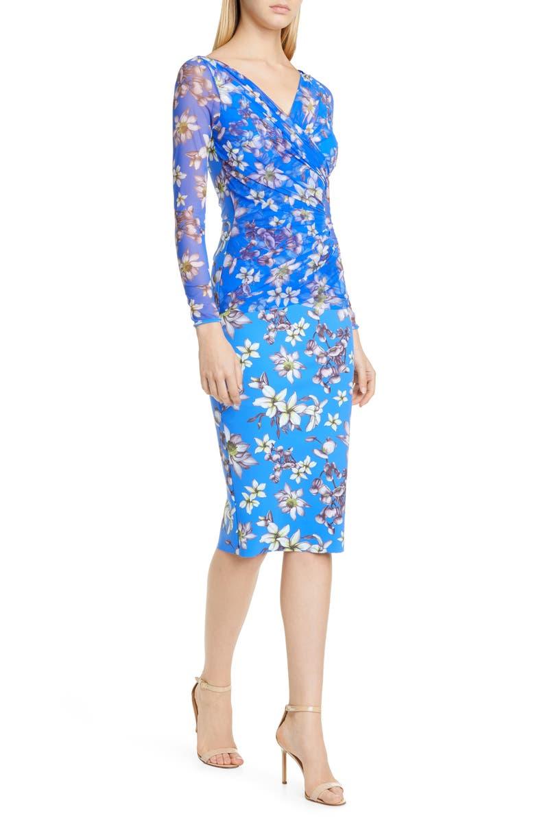 CHIARA BONI LA PETITE ROBE Chiara Boni La Petite Shana Long Sleeve Cocktail Dress, Main, color, FRANGIPANI BLUE KLEIN