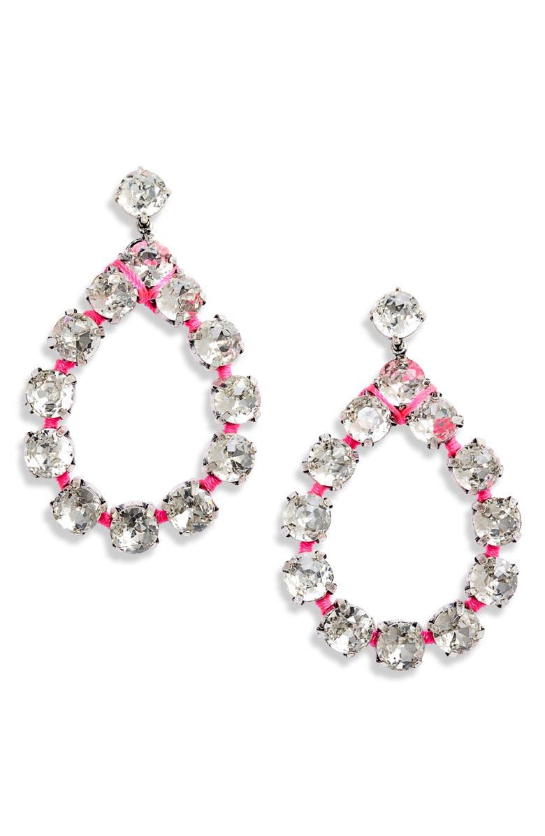 STELLA & DOT Neon Dream Crystal Drop Earrings, Main, color, SILVER/ MULTI