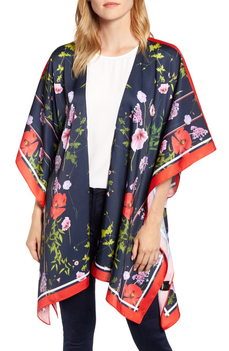 TED BAKER LONDON Hedgerow Floral Ruana, Main, color, 400