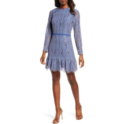 Adelyn Rae Alicia Long Sleeve Lace Cocktail Dress, Blue
