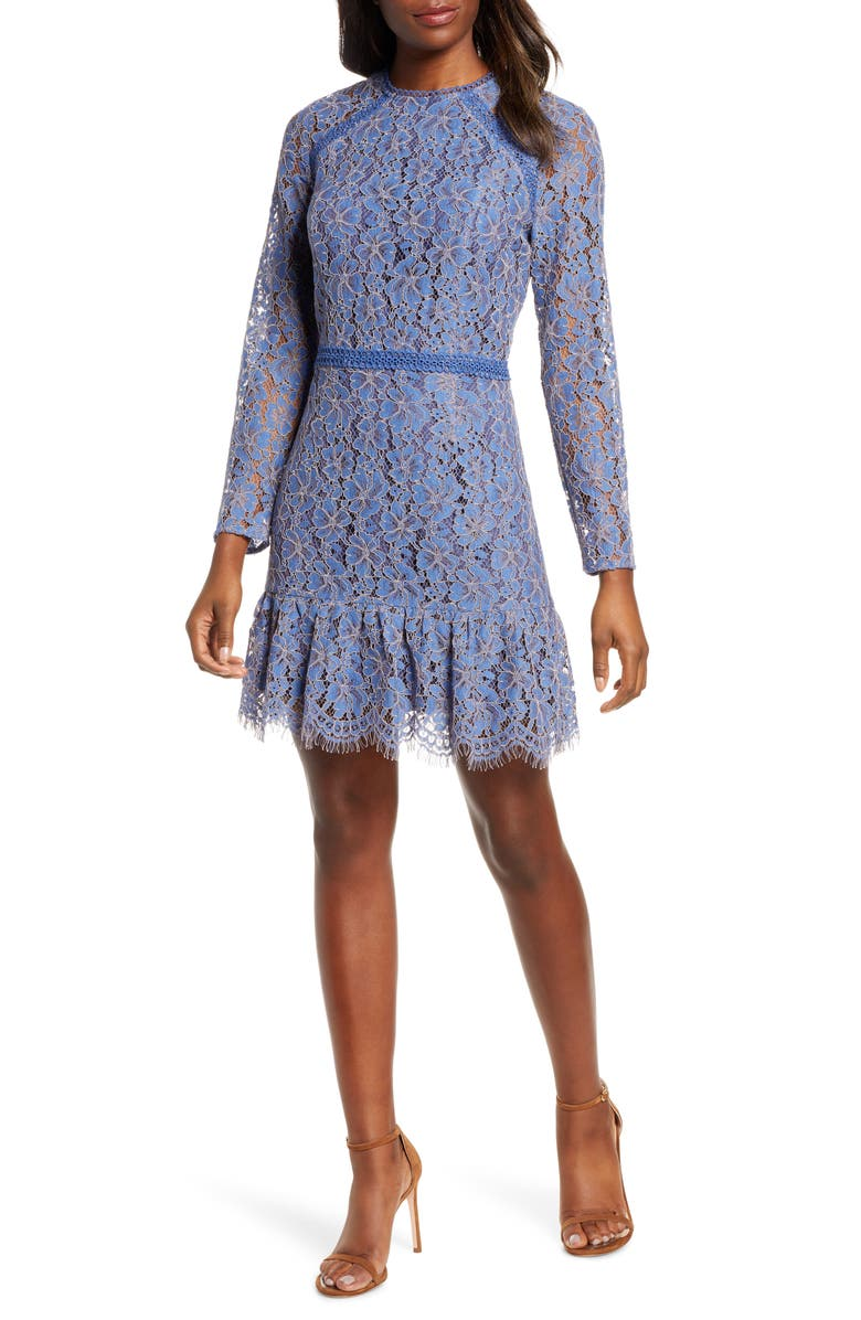 ADELYN RAE Alicia Long Sleeve Lace Cocktail Dress, Main, color, BLUE-VIOLET
