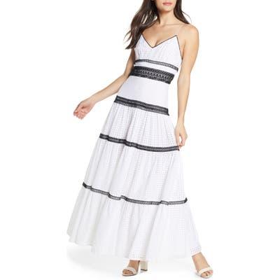 Jill Jill Stuart Black & White Cotton Eyelet Maxi Dress, White