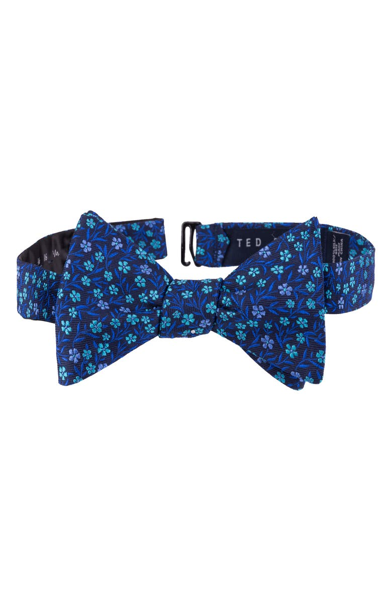 TED BAKER LONDON Floral Silk Bow Tie, Main, color, NAVY