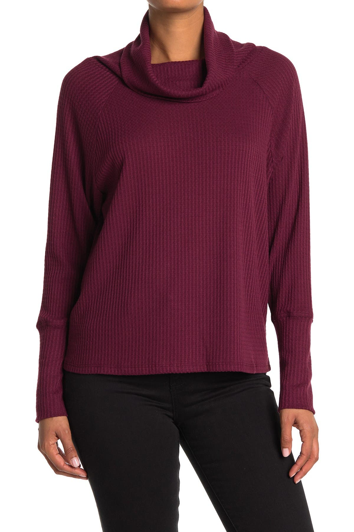 Image of Bobeau Cowl Neck Raglan Sleeve Thermal Top
