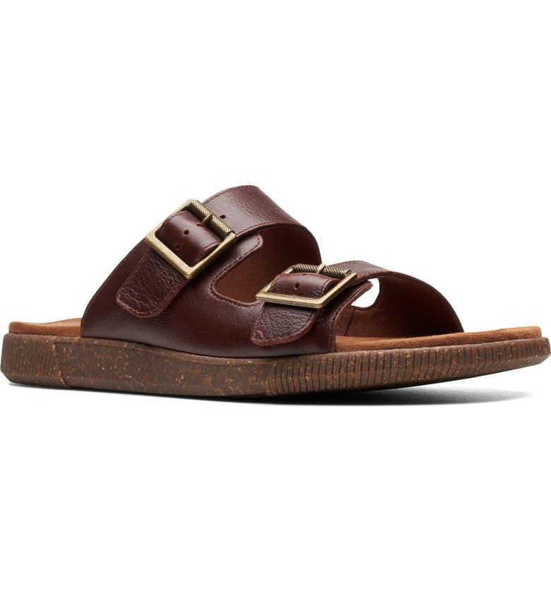 CLARKS<SUP>®</SUP> Vine Cedar Slide Sandal, Main, color, MAHOGANY LEATHER
