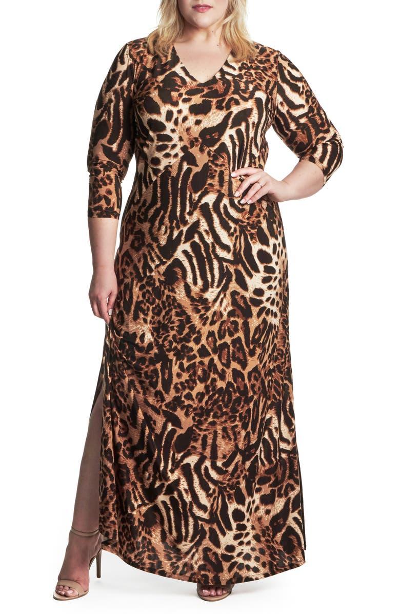 COLDESINA Cairo Animal Print Maxi Dress, Main, color, LEOPARD PRINT