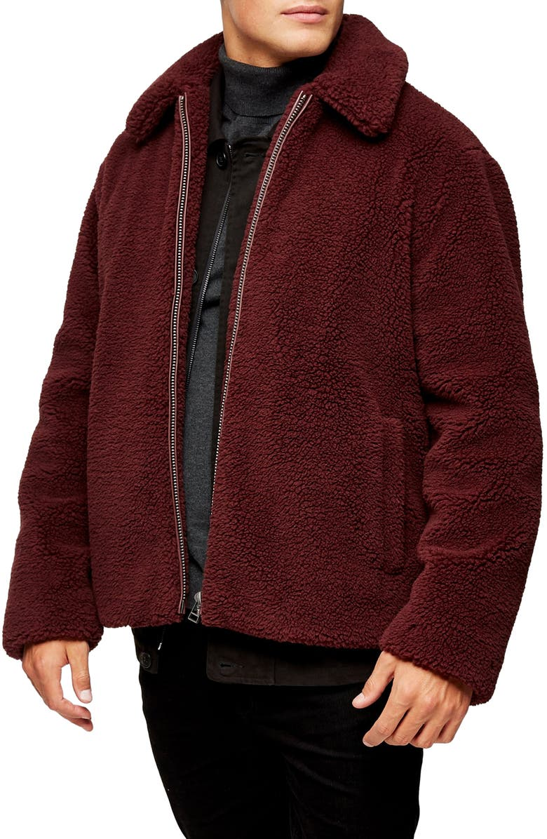 TOPMAN Slim Fit Faux Shearling Teddy Coat, Main, color, BURGUNDY