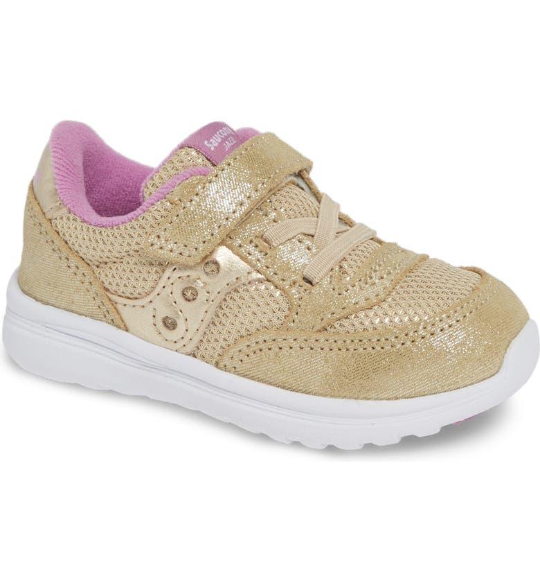 SAUCONY 'Baby Jazz - Lite' Sneaker, Main, color, GOLD SPARKLE