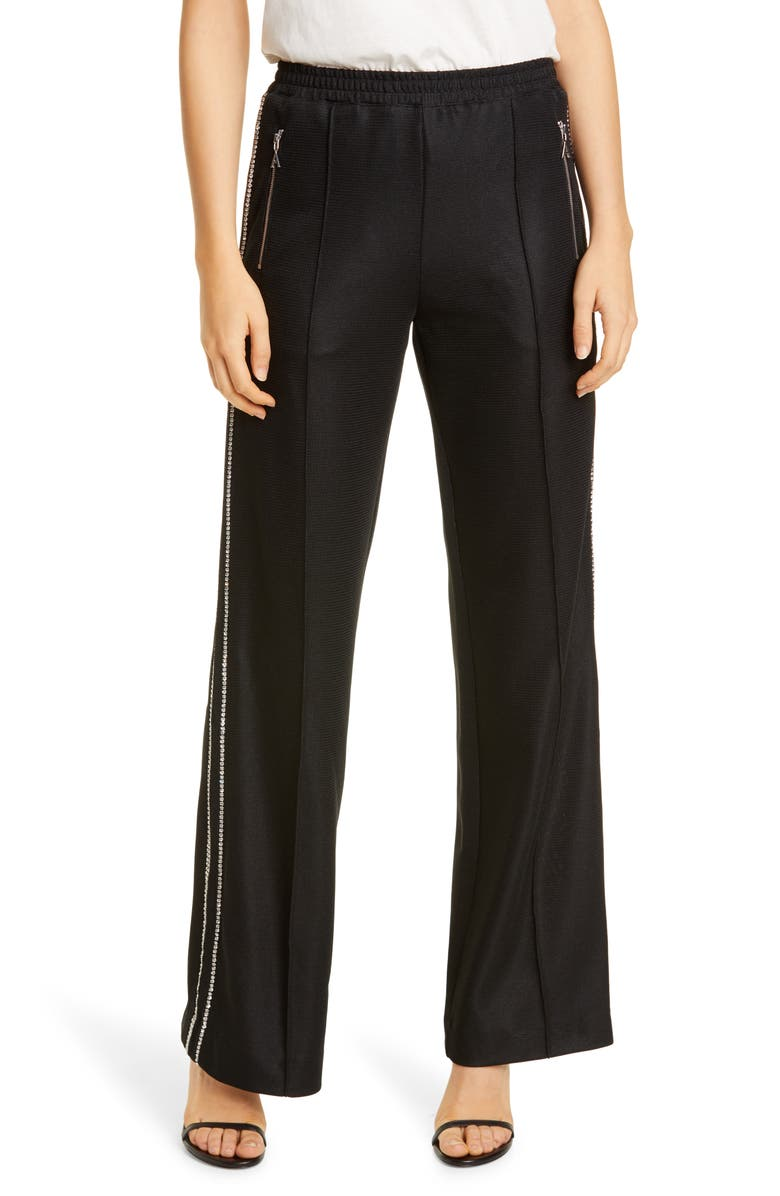 AREA Crystal Trim Track Pants, Main, color, 001