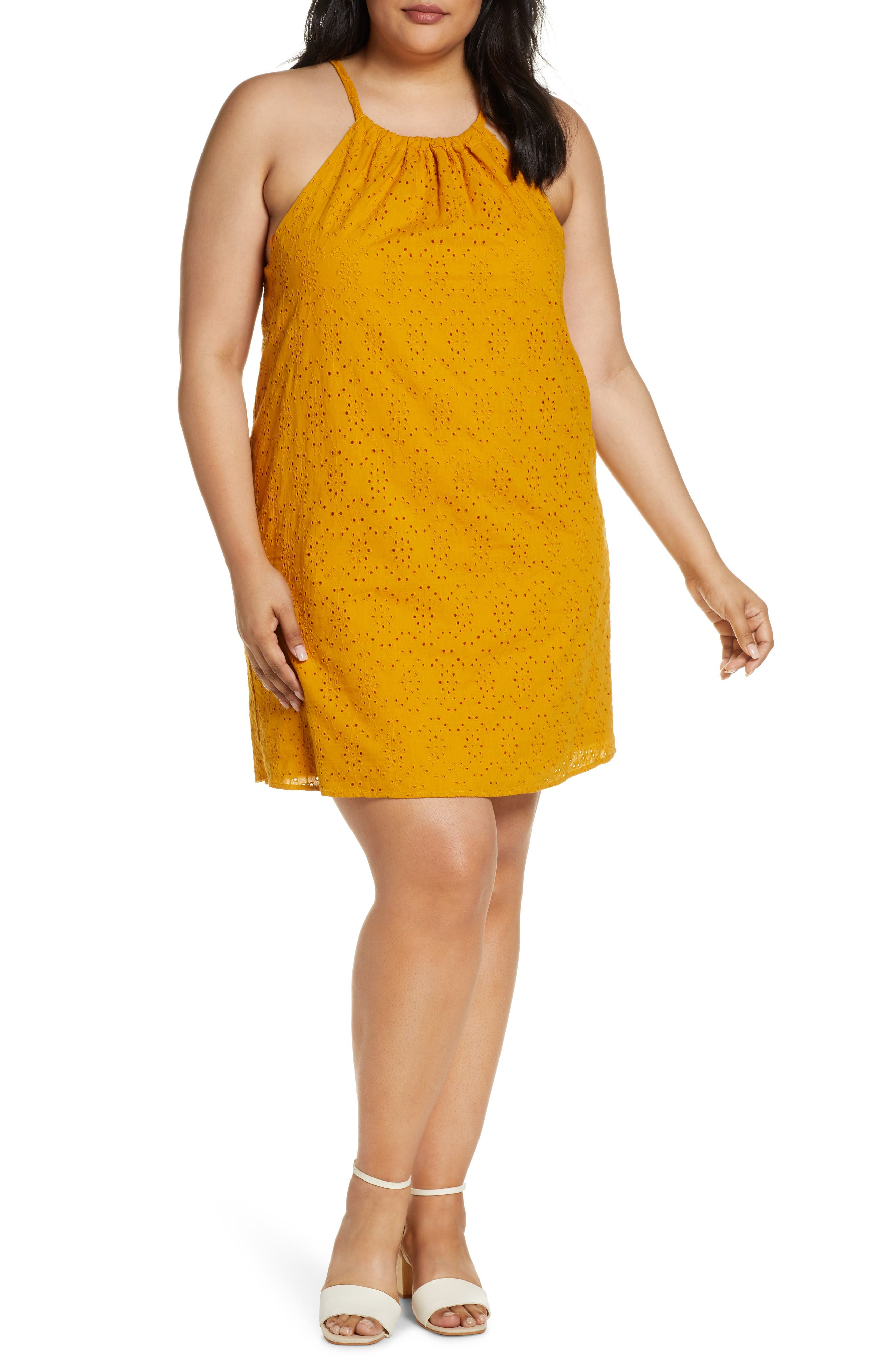 Plus Size Gibson X Hot Summer Nights Two Peas Eyelet Halter Summer Dress, Yellow (Plus Size) (Nordstrom Exclusive)