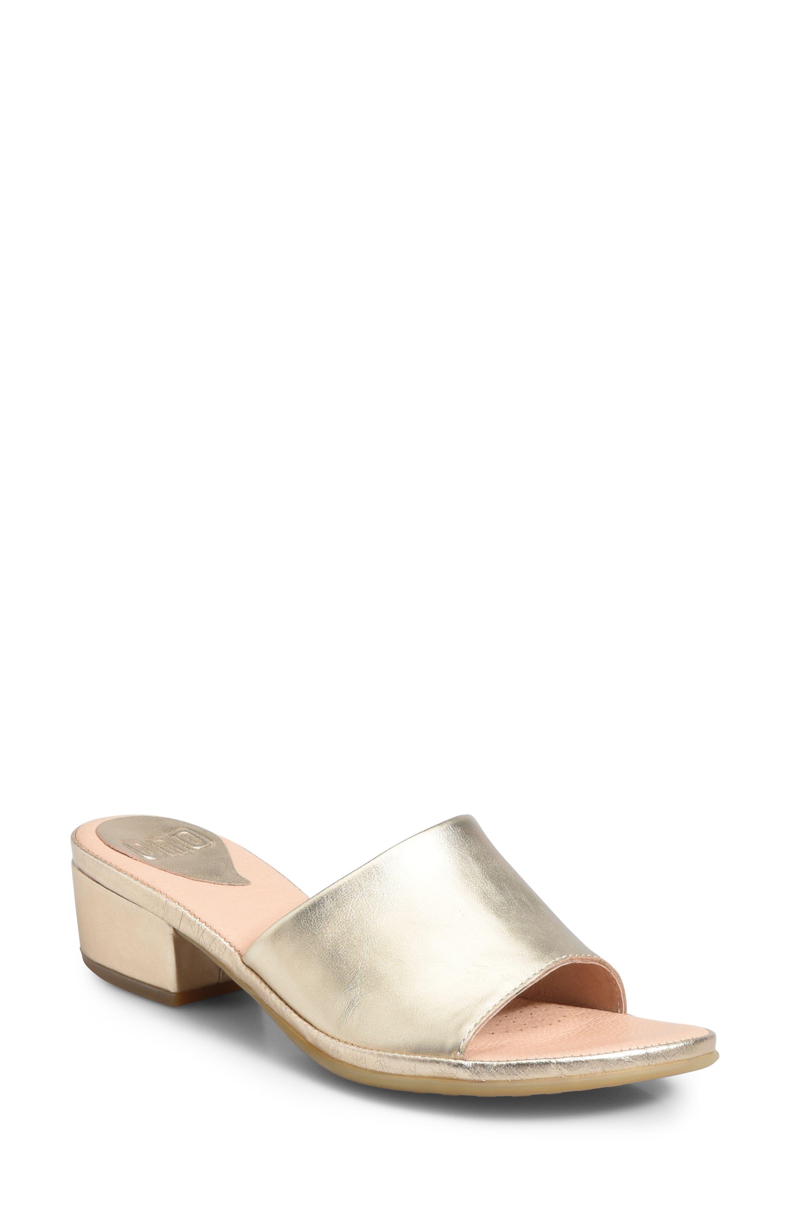 Ono Bo Block Heel Slide Sandal, Metallic