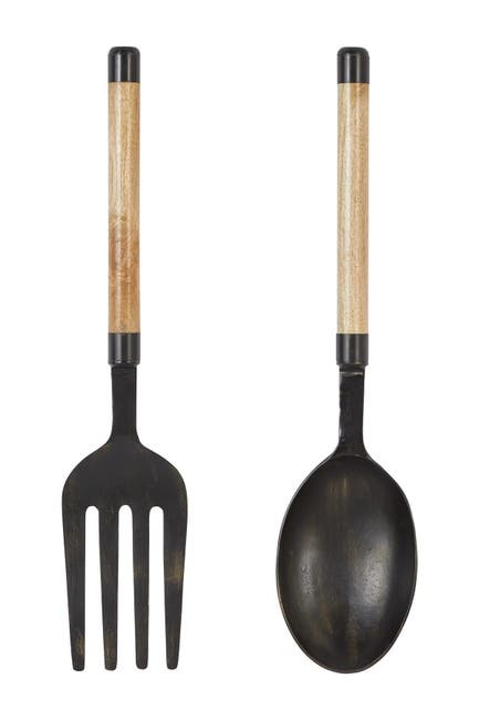 "Image of Willow Row Large Spoon And Fork Metal Wall Decor - 8"" x 35"" - Set of 2"
