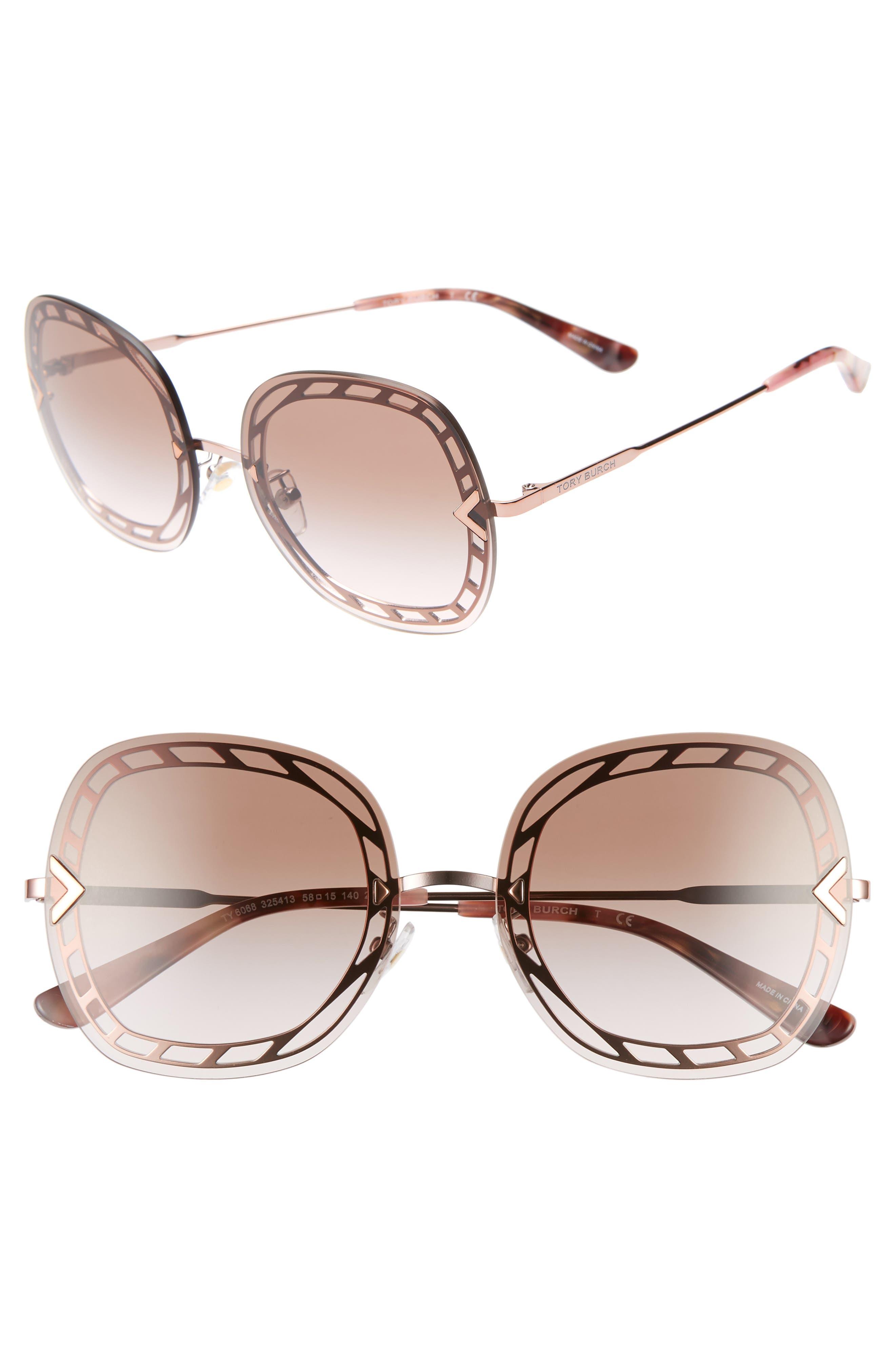 ,                             58mm Gradient Square Sunglasses,                             Main thumbnail 10, color,                             711