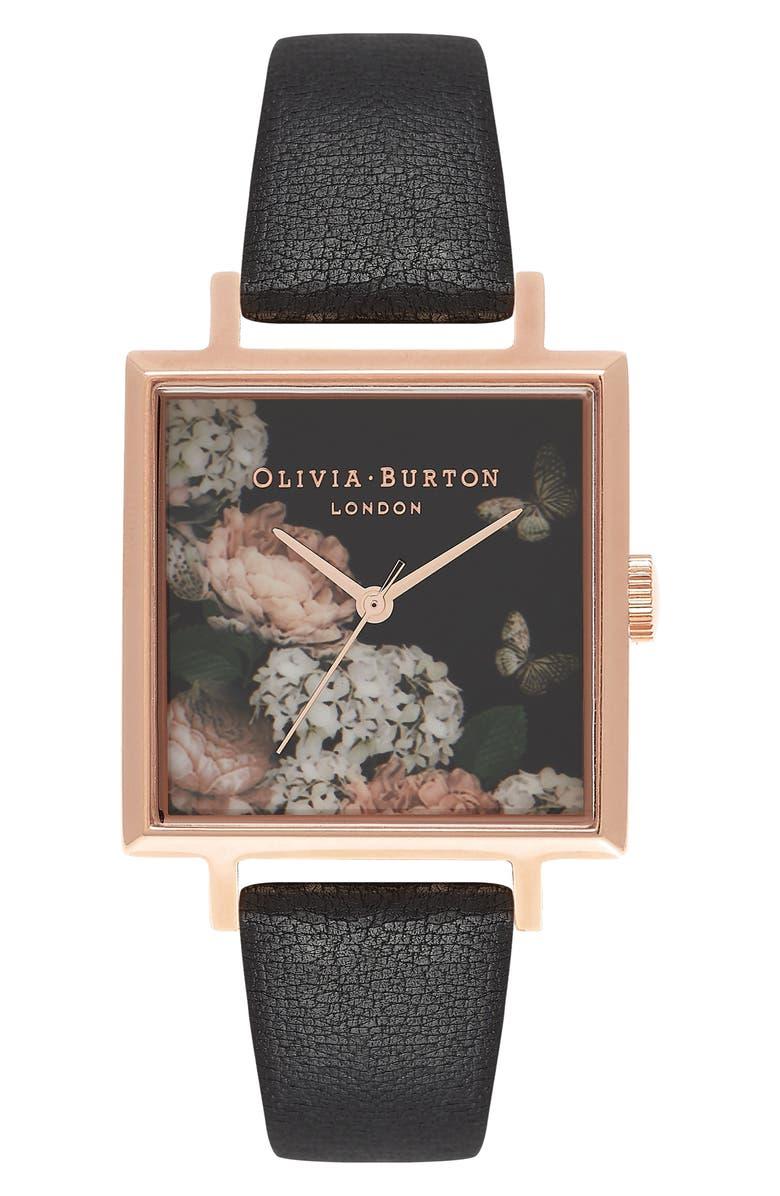 OLIVIA BURTON Signature Floral Big Square Leather Strap Watch, 38mm, Main, color, 001