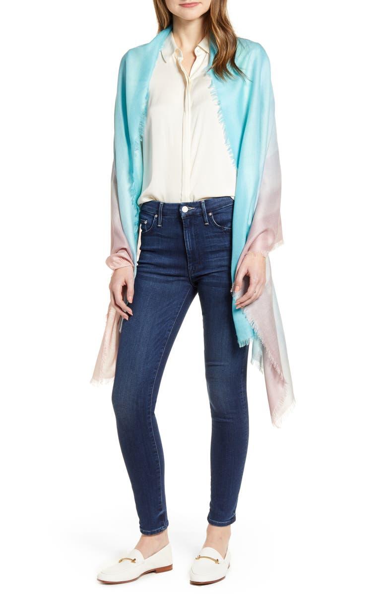 NORDSTROM Eyelash Trim Print Cashmere & Silk Wrap, Main, color, BLUE COMBO MAGIC MIST PRINT