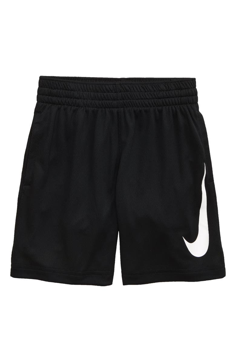 NIKE Dry Shorts, Main, color, BLACK/ VOLT/ WHITE