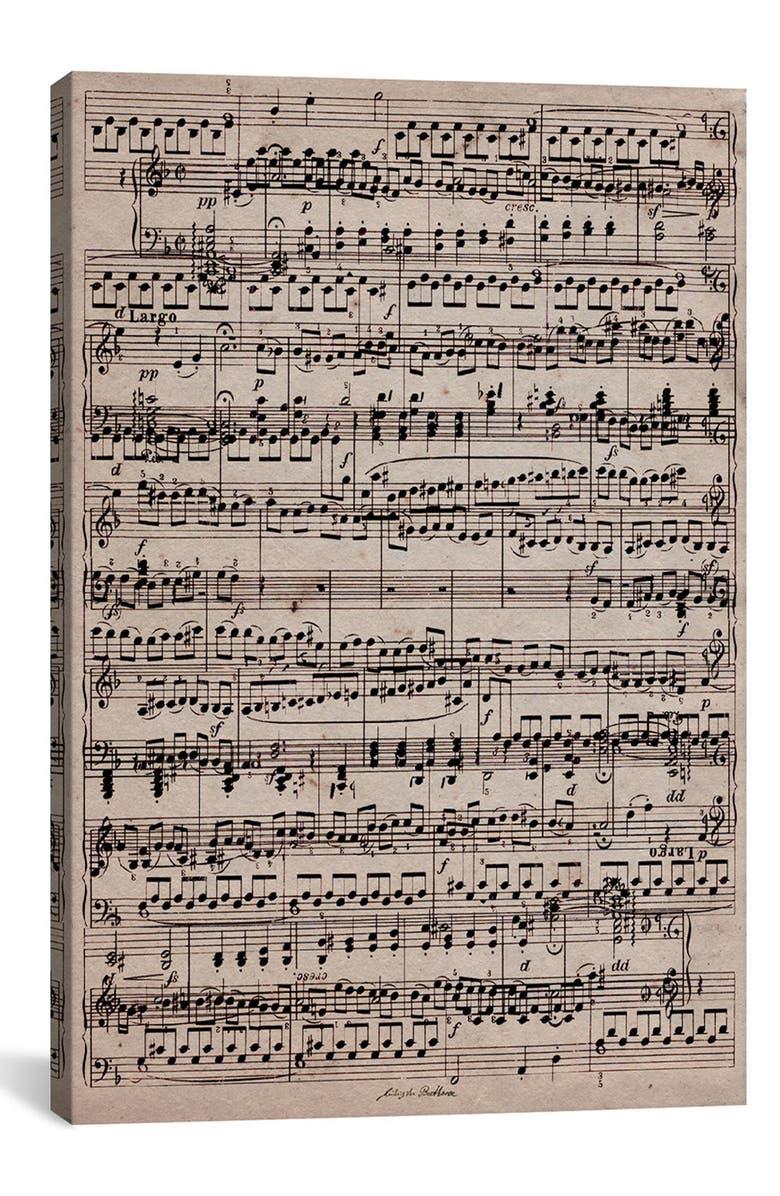 ICANVAS 'Sheet Music' Giclée Print Canvas Art, Main, color, BEIGE