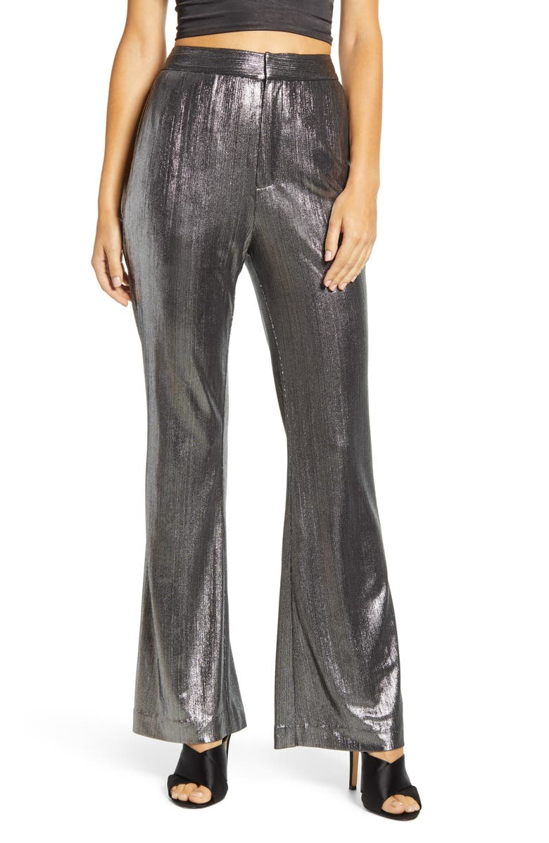 ENDLESS ROSE Textured Flared Pants, Main, color, SILVER