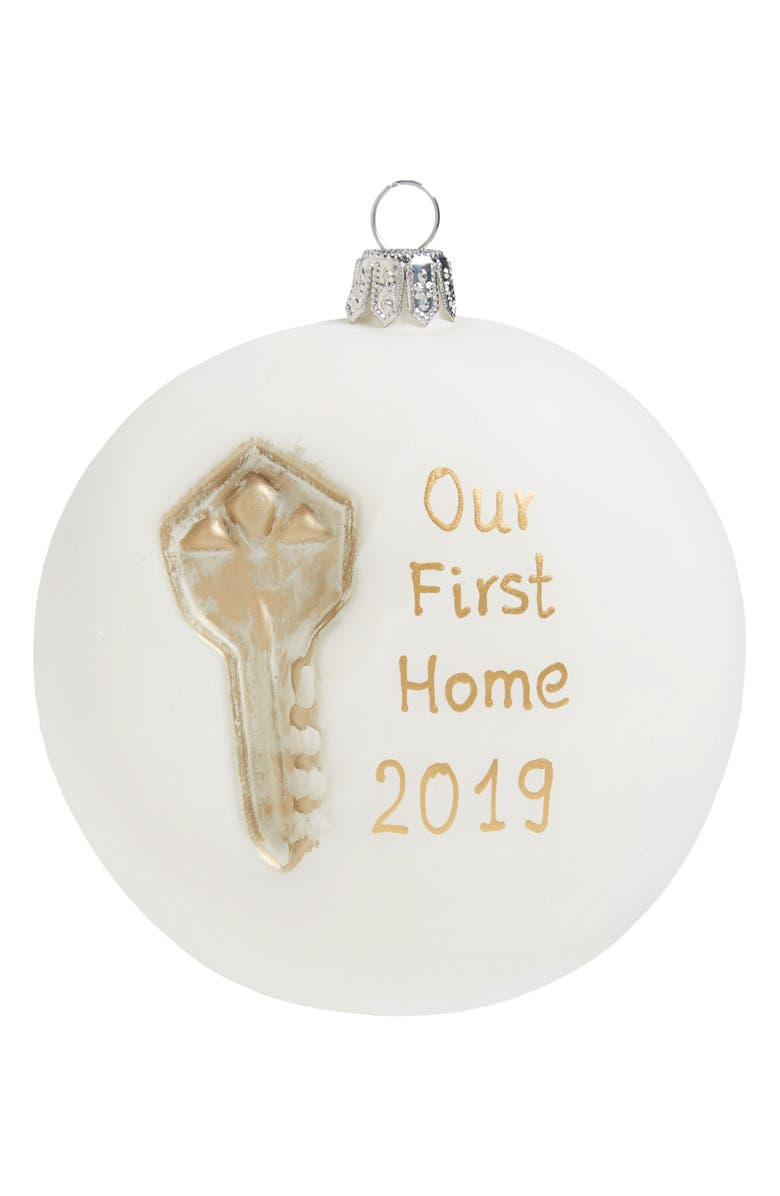 NORDSTROM Our First Home 2019 Glass Ball Ornament, Main, color, WHITE MULTI