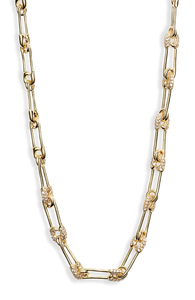 MELINDA MARIA Safety Pin Choker Necklace, Main, color, GOLD/ WHITE CZ