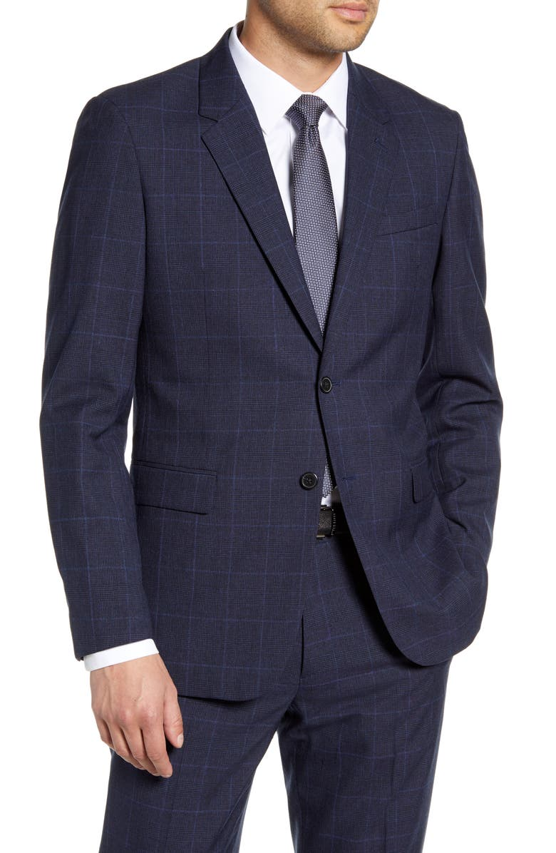 THEORY Chambers Kardova Regular Fit Plaid Wool Blazer, Main, color, ECLIPSE MULTI