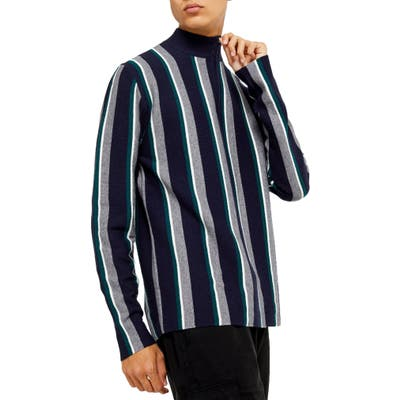 Topman Stripe Mock Neck Quarter Zip Sweater
