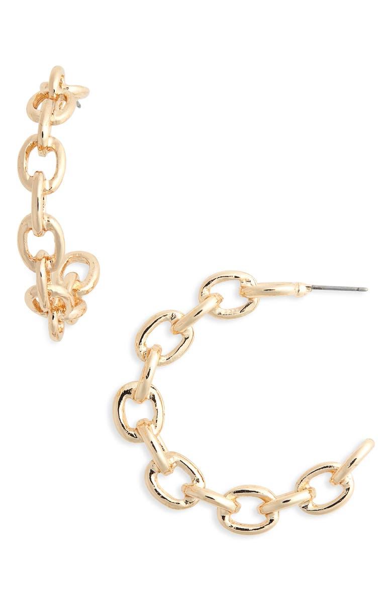 BP. Chain Link Hoop Earrings, Main, color, 710