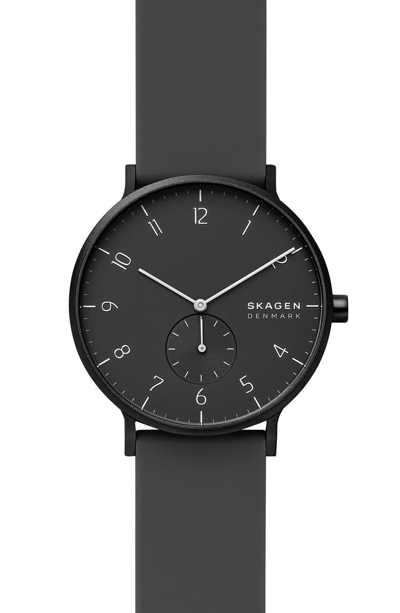SKAGEN Aaren Kulør Rubber Strap Watch, 41mm, Main, color, BLACK
