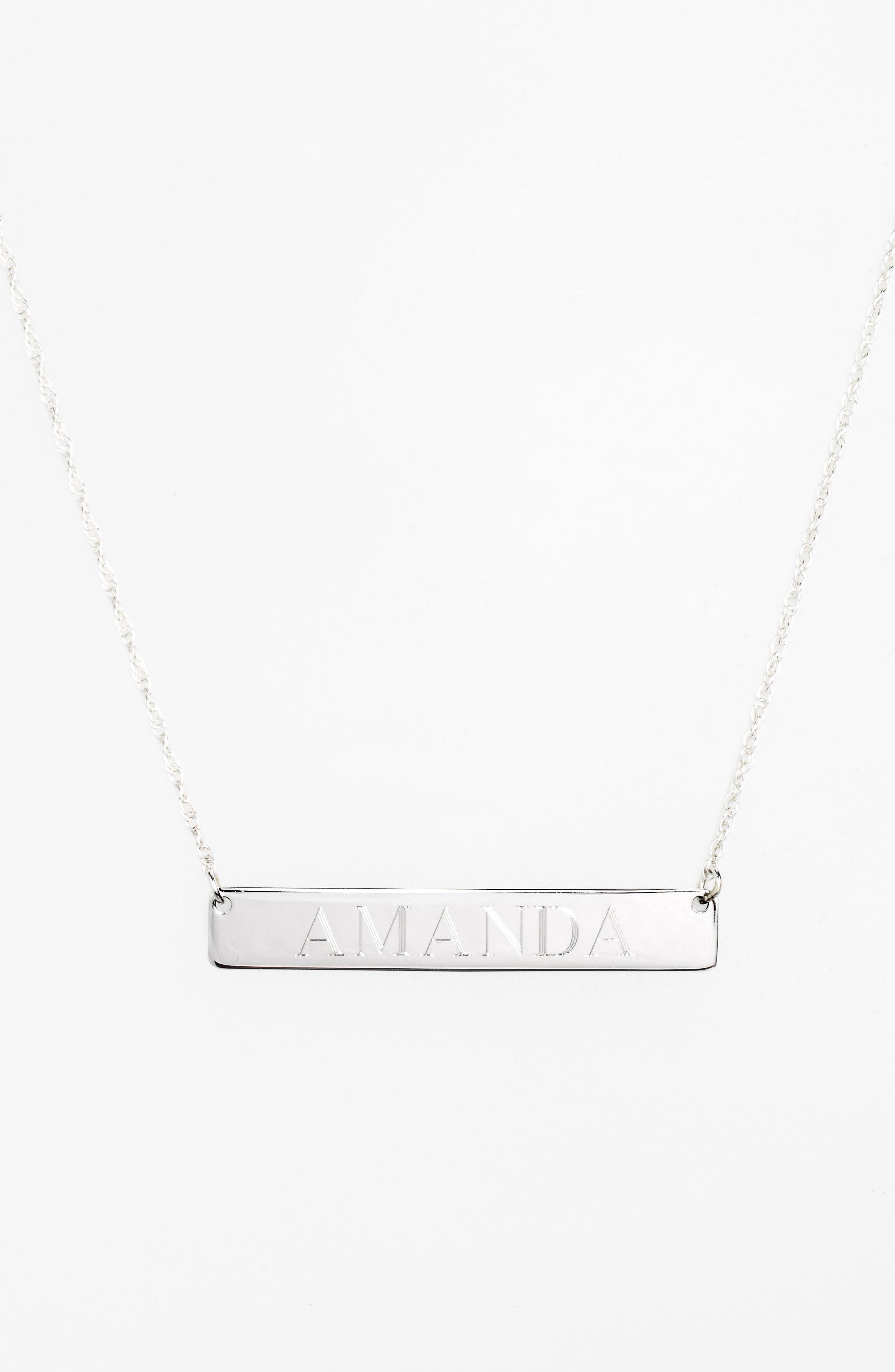 ,                             Personalized Bar Pendant Necklace,                             Alternate thumbnail 2, color,                             SILVER