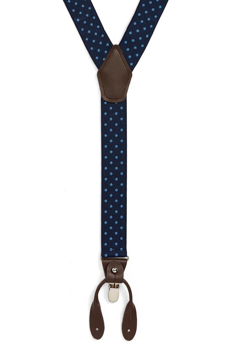 NORDSTROM MEN'S SHOP Woven Dot Suspenders, Main, color, NAVY/ BLUE
