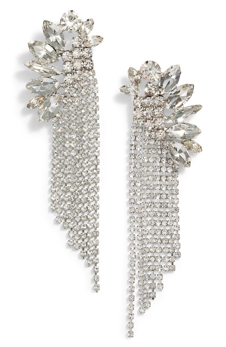 CRISTABELLE Crystal Fringe Earrings, Main, color, 040