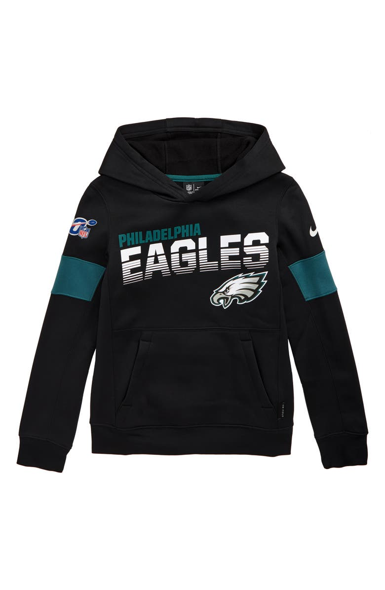 NIKE NFL Logo Philadelphia Eagles Therma Dri-FIT Hoodie, Main, color, BLACK
