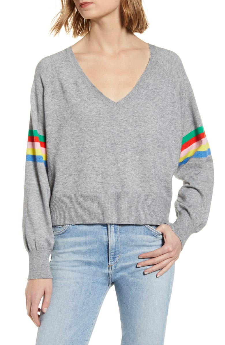 CUPCAKES AND CASHMERE Hazel Rainbow Stripe Sweater, Main, color, LIGHT HEATHER GREY